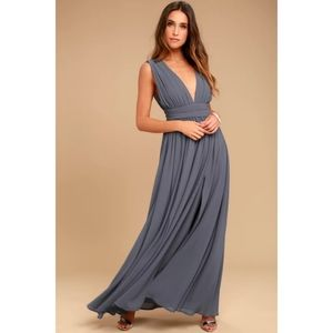 Lulus Heavenly Hues Denim Blue Maxi Dress
